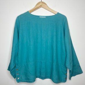 bryn WALKER Turquoise Linen Boxy Button Top